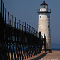 Manistee Harbor Lighthouse And Cat Walk by Grace Grogan