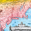 Map Of New Netherland, 1650s by Photo Researchers