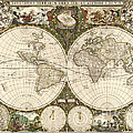 Map Of The World, 1660 by Photo Researchers