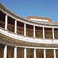 Marble Columns In Circular Court Yard Granada Spain by John Shiron