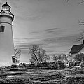 Marblehead Lighthouse And Lightkeeper House In Black And White by At Lands End Photography