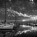 Marina At Fort Monroe Bw by Williams-Cairns Photography LLC