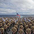 Marines And Sailors Stand In Formation by Stocktrek Images