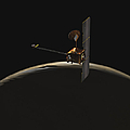 Mars Odyssey Spacecraft Over Martian by Stocktrek Images