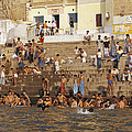 Men And Boys Bathe At An Ancient Ghat by Jason Edwards