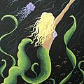 Mermaid Swimming With Jellyfish by Osee Koger