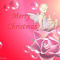 Merry Christmas Cherub And Rose by Joyce Dickens
