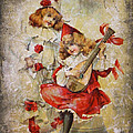 Merry Making Antique Girls In Red And White Grunge by Kathy Clark