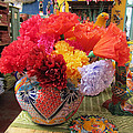 Mexican Paper Flowers And Talavera Pottery by Elizabeth Rose