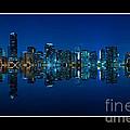Miami Skyline Night Panorama by Carsten Reisinger