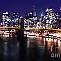 Midnight In The Shadow Of Brooklyn Bridge - Brooklyn Bridge by Lee Dos Santos
