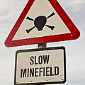 Minefield Road Sign Falkland Islands by Colin Monteath