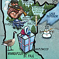 Minnesota Cartoon Map by Kevin Middleton