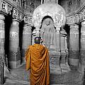 Monk At Ajanta Caves India by Sumit Mehndiratta