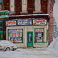 Montreal Corner Market Winter Scene by Carole Spandau