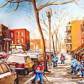 Montreal Street With Six Boys Playing Hockey by Carole Spandau