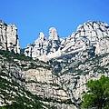 Montserrat Monastery Panoramic Mountain View Blue Sky Near Barcelona Spain by John Shiron
