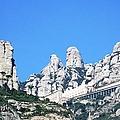 Montserrat Monastery Panoramic Mountain View II Blue Sky Near Barcelona Spain by John Shiron