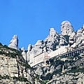 Montserrat Monastery Panoramic Mountain View Iv Blue Sky Near Barcelona Spain by John Shiron