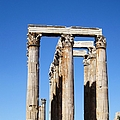 Moon Over Corinthian Columns Of The Temple Of Olympian Zeus Ancient Greek Architecture Athens Greece by John Shiron