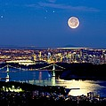 Moon Over Vancouver, Time-exposure Image by David Nunuk