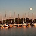 Moon Rises Over The Marina by Randall Branham