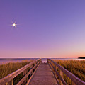 Moonlit Boardwalk At Beach by Nancy Rose