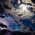 Moonlit Clouds With A Splash Of Lightning by Beth Riser