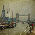 Moored Thames Barges. by Clare Bambers