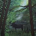 Moose In Pines by Leslie Allen