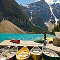 Moraine Lake - Banff National Park - Canoes by Andre Distel