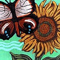 Moth And Sunflower by Genevieve Esson