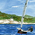 Moth Sailing At Castle Hill Light by Nancy Patterson