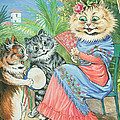 Mother Cat With Fan And Two Kittens by Louis Wain