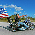 Motorcycle And Flag by Larry Mulvehill
