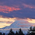 Mount Rainier Shrouded In Clouds by Sean Griffin