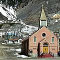 Mountain Chapel With Red Steps by Lorraine Devon Wilke