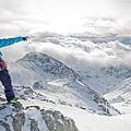 Mountain Guide Snowboard Instructor Pointing Out Peaks In Davos by Andy Smy