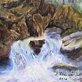 Mountain Waterfalls Painting by Judy Filarecki