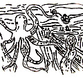 Munch On Octopussy A Tribute To Munch With Romantic Octopus Pier Screaming Boats Lake Flower Love by M Zimmerman