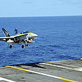 N Fa-18c Hornet Lands Aboard by Stocktrek Images