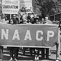 Naacp Banner Is Held By Protesters by Everett