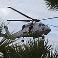 Navy Seals Look Out The Helicopter Door by Michael Wood