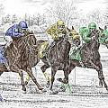 Neck And Neck - Horse Race Print Color Tinted by Kelli Swan
