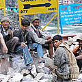 Nepali Labourers At Devraprayag by Neil Pollick