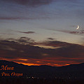 New Moon Over Grants Pass With Text by Mick Anderson