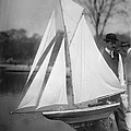 New York City, Man With Toy Yacht by Everett
