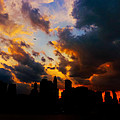 New York City Skyline At Sunset Under Clouds by Vivienne Gucwa
