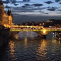 Night Fall Over The Seine by Shawna Gibson