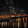 Night Lights On The Chicago River by Lynn Bauer